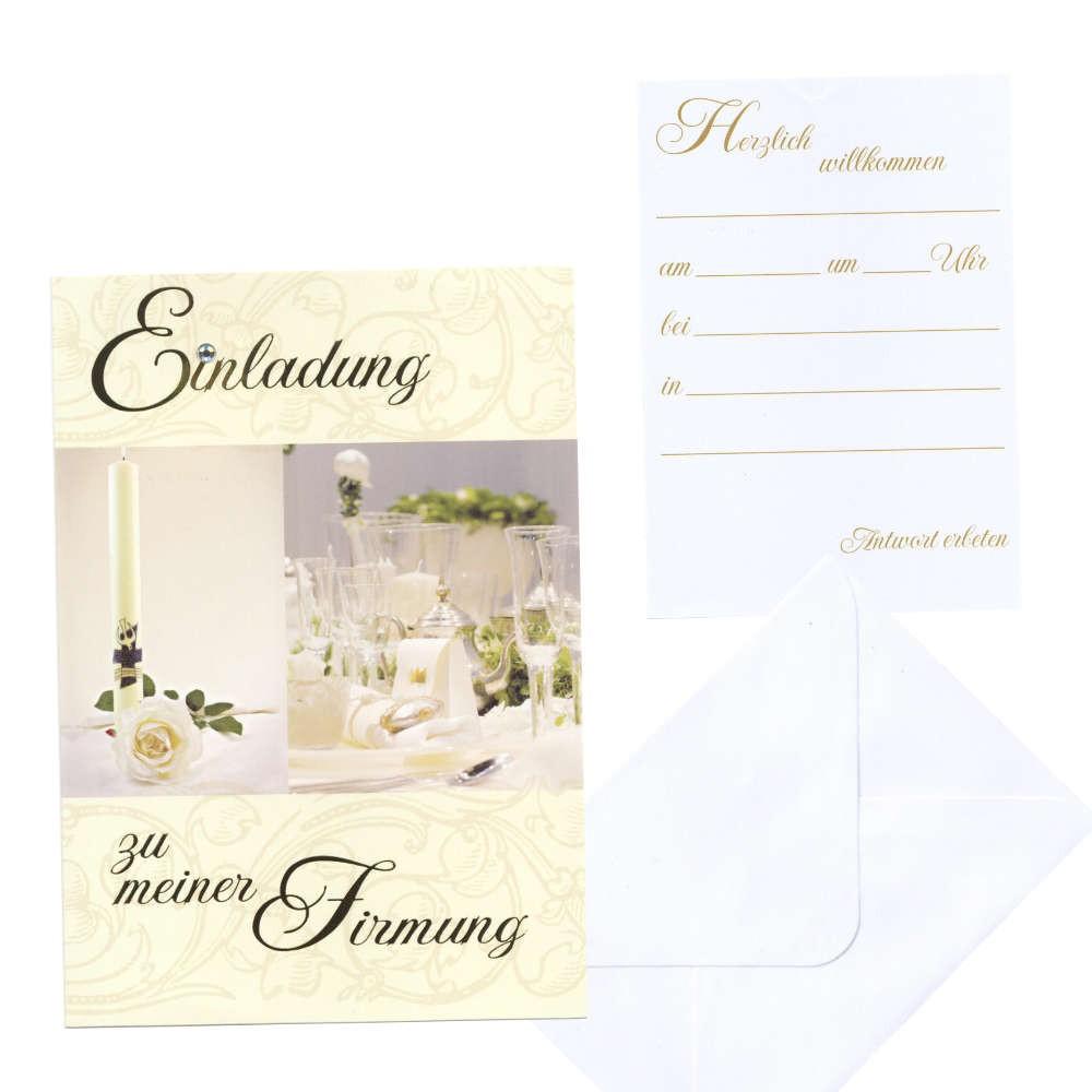 5 einladungskarte firmung weiße rose | ebay, Einladung