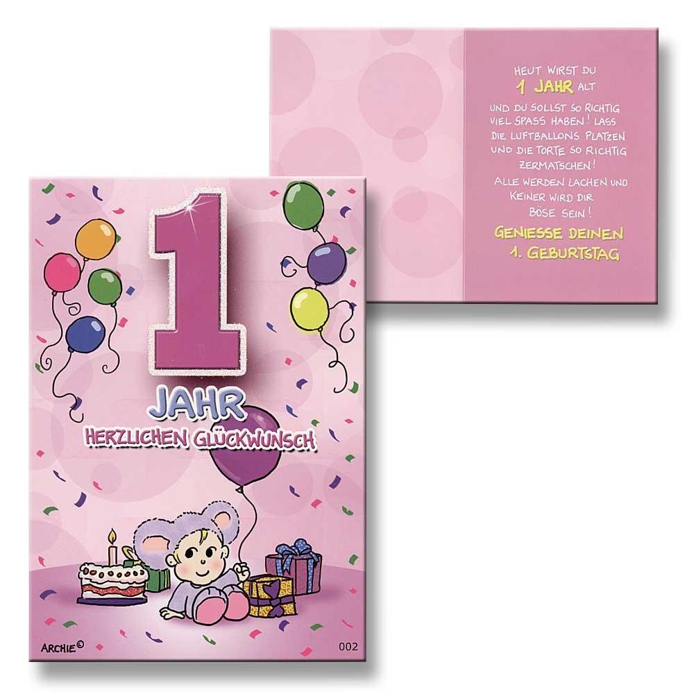 archie geburtstagskarte zum 1 geburtstag m dchen rosa