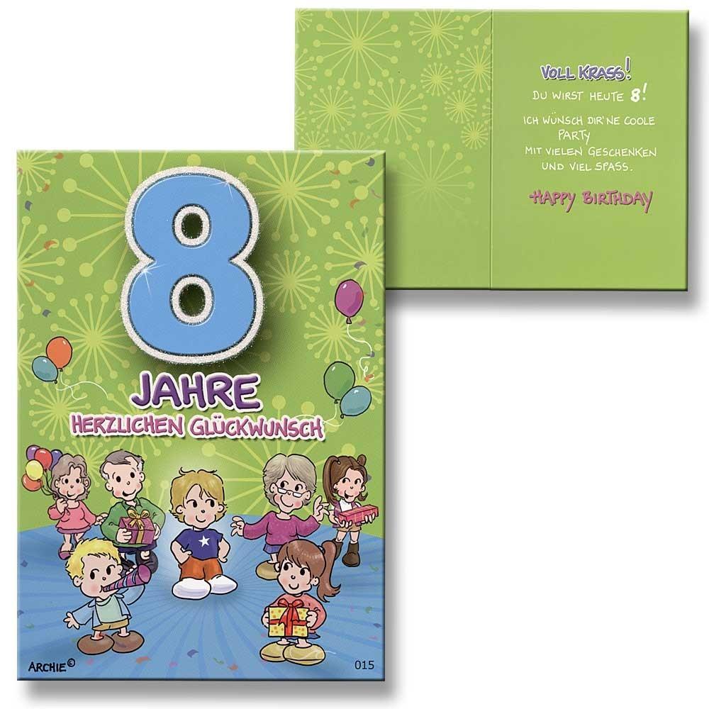 Archie Geburtstagskarte zum 8. Geburtstag Junge grün