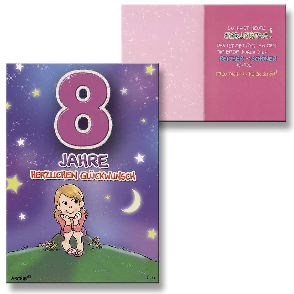 Archie Geburtstagskarte zum 8 Geburtstag Mädchen lila