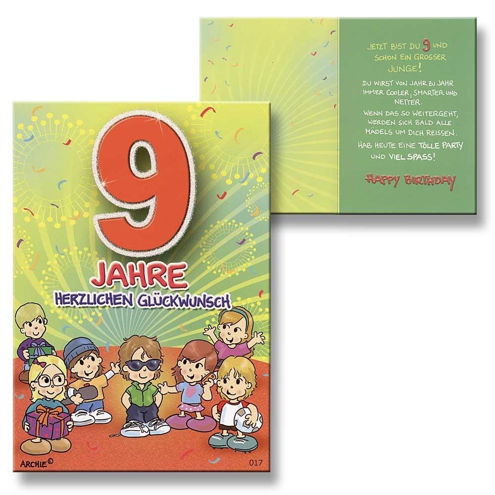 archie geburtstagskarte zum 9 geburtstag junge gelb