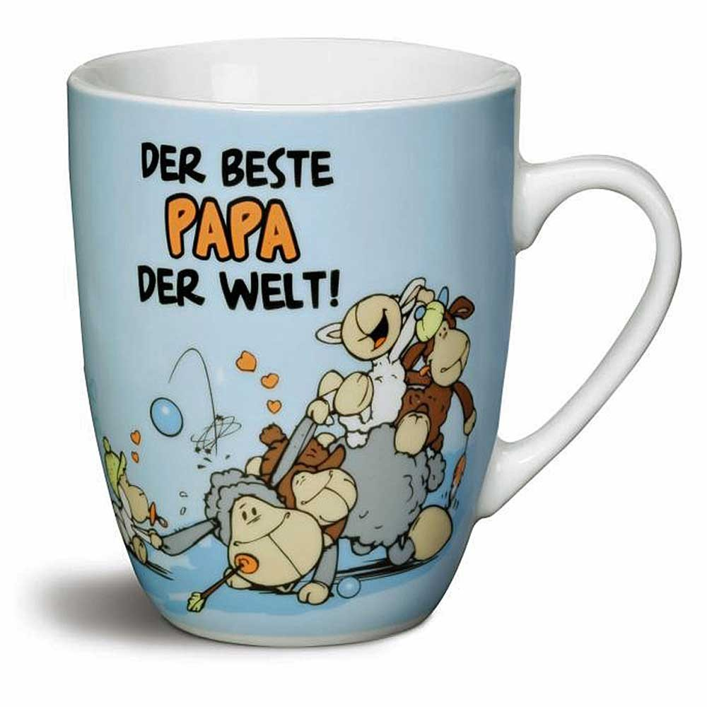 nici tasse becher kaffeetasse der beste papa der welt vatertag schafe blau wei ebay. Black Bedroom Furniture Sets. Home Design Ideas