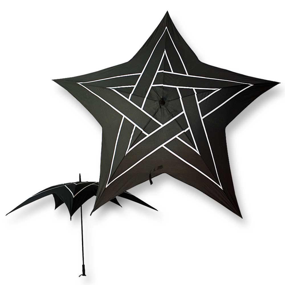 gothic regenschirm pentagramm schwarz wei sonnenschirm. Black Bedroom Furniture Sets. Home Design Ideas