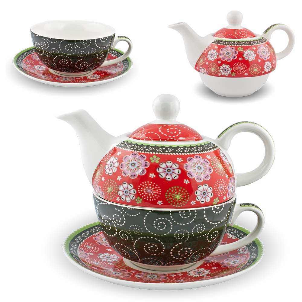 gilde porzellan tee set paisley tea for one blumen rot teeservice teekanne tasse ebay. Black Bedroom Furniture Sets. Home Design Ideas