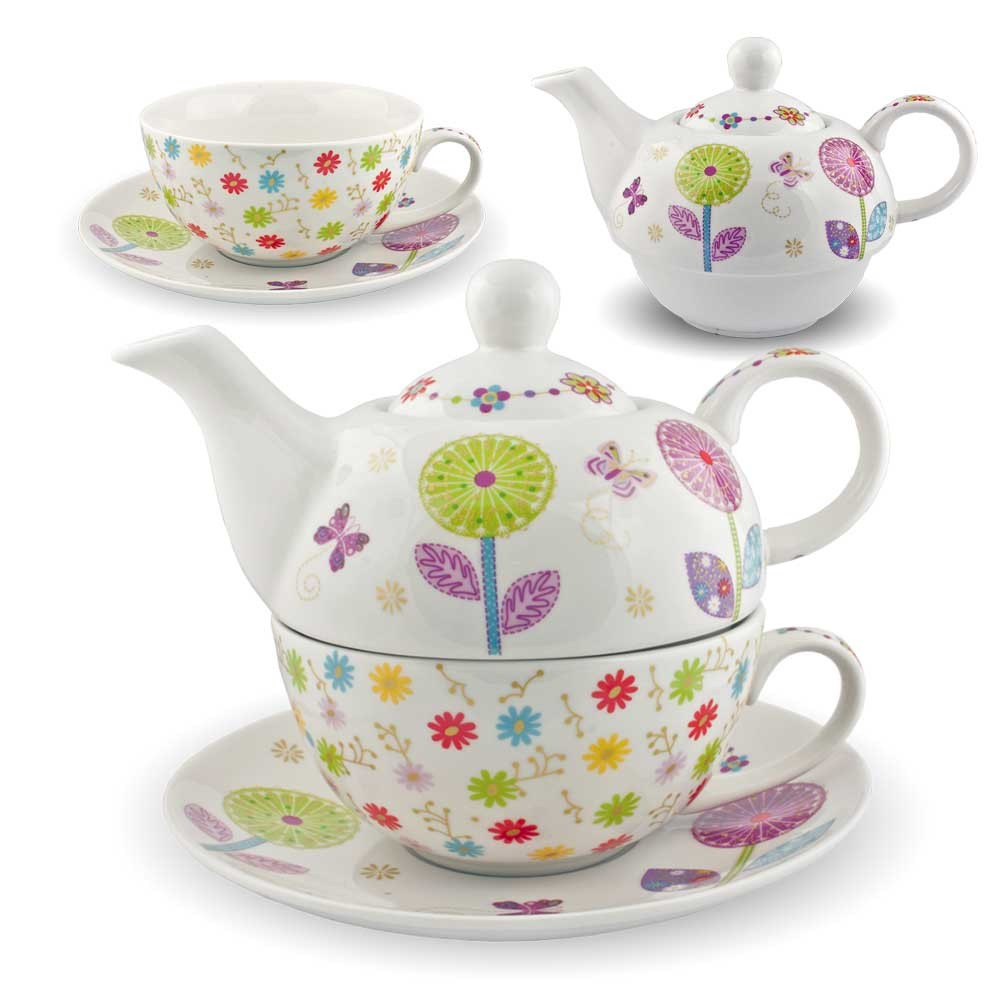 gilde porzellan tee set pusteblume tea for one blumen teeservice teekanne tasse ebay. Black Bedroom Furniture Sets. Home Design Ideas