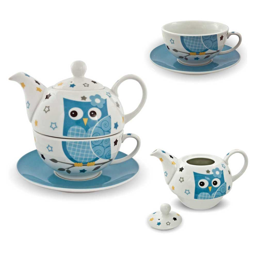 porzellan tee set tea for one teeservice eule blau wei teekanne tasse untersetz ebay. Black Bedroom Furniture Sets. Home Design Ideas
