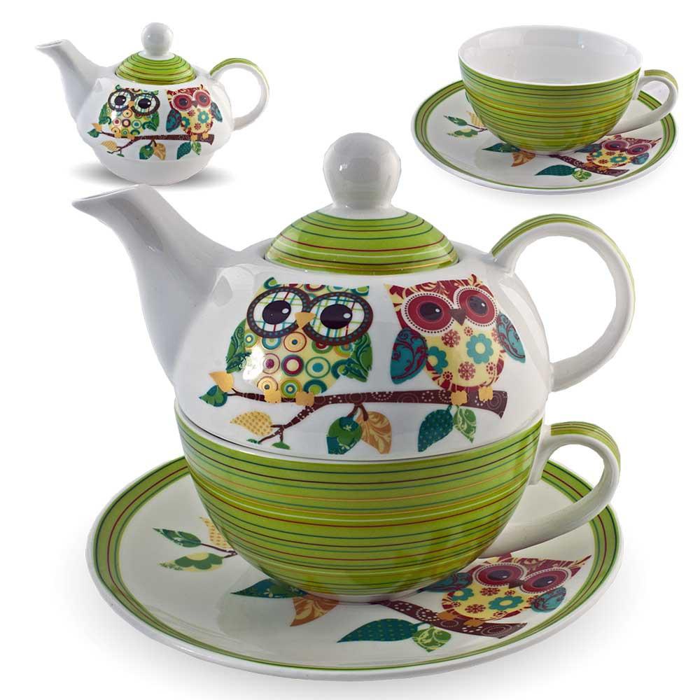 gilde porzellan tee set eulenpaar eule tea for one blumen teeservice teekanne ta ebay. Black Bedroom Furniture Sets. Home Design Ideas