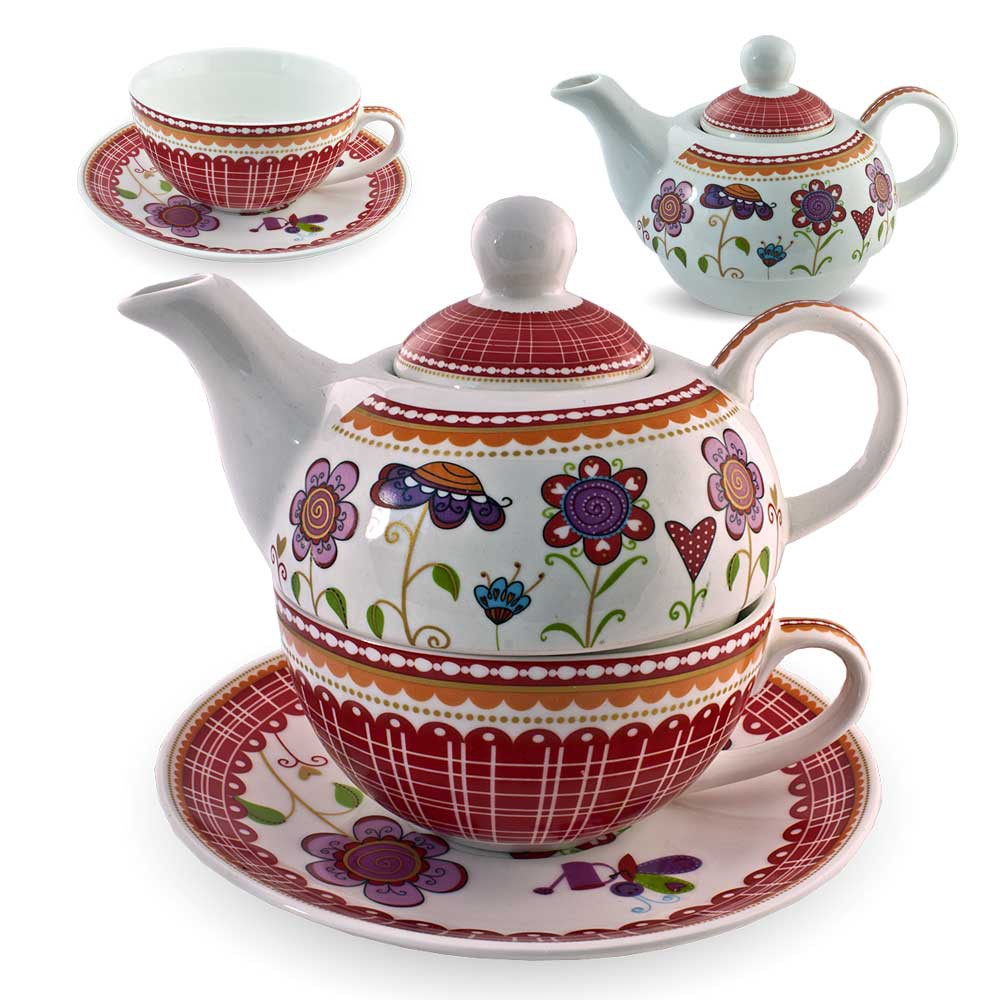 gilde porzellan tee set blumenwiese tea for one blumen teeservice teekanne tasse ebay. Black Bedroom Furniture Sets. Home Design Ideas