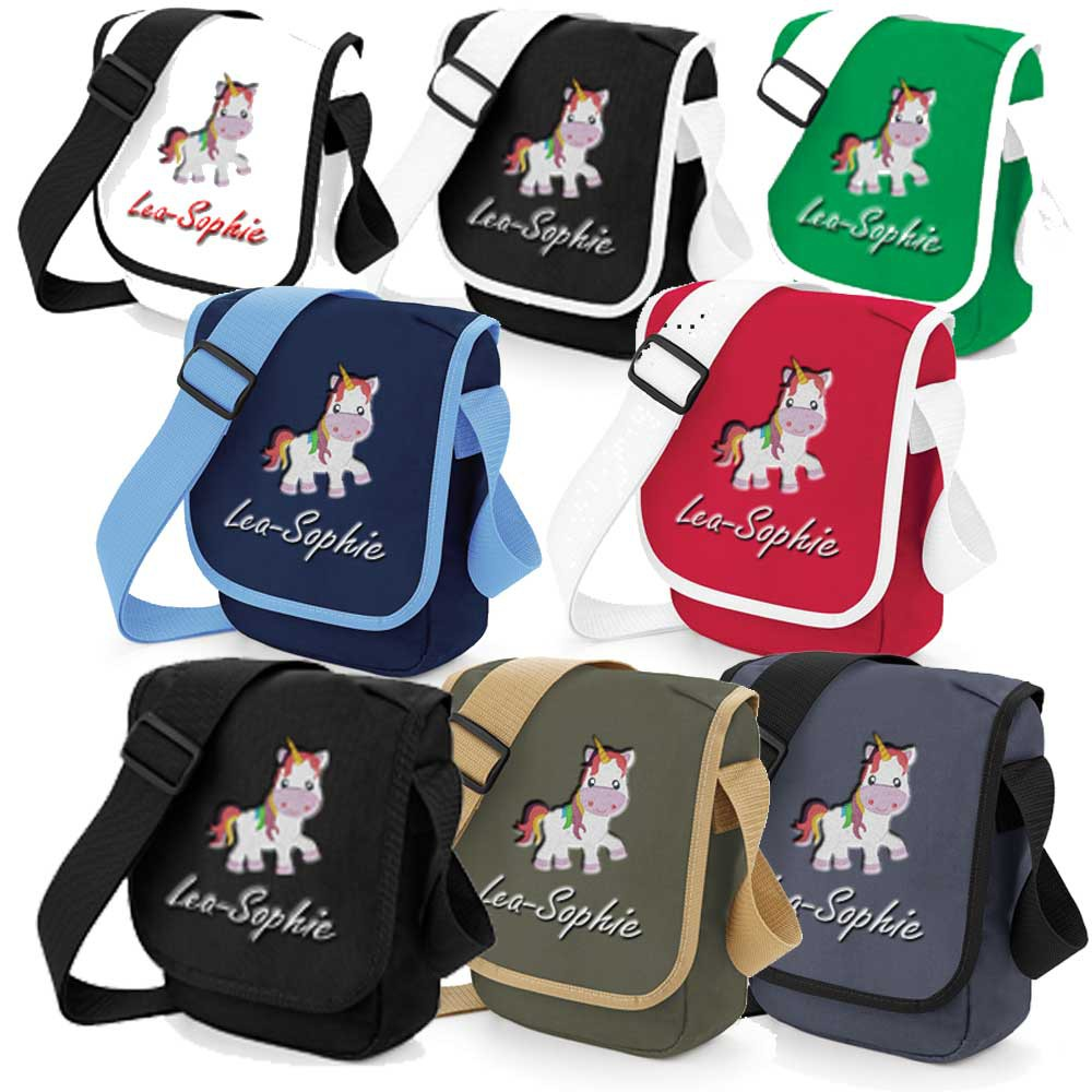 kindergartentasche tasche bagbase 23x17 cm bestickt mit namen einhorn. Black Bedroom Furniture Sets. Home Design Ideas
