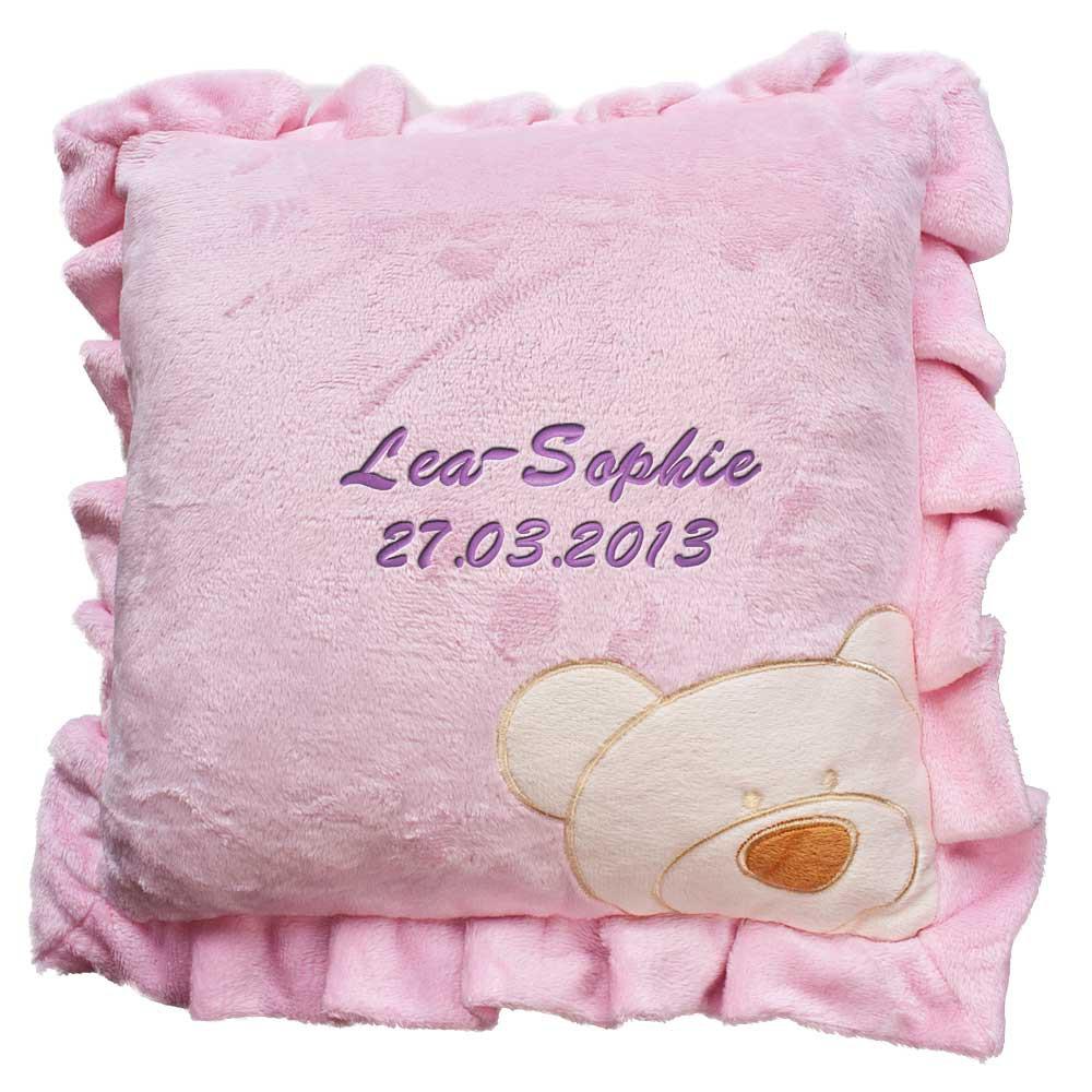 babykissen mit namen bestickt kissen 30x30 cm geschenk zur taufe zur geburt. Black Bedroom Furniture Sets. Home Design Ideas