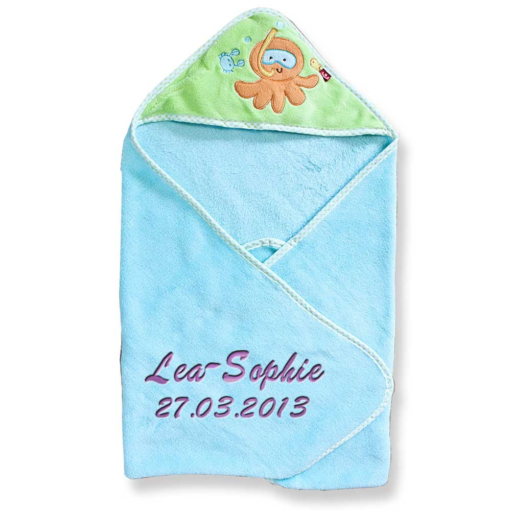 kapuzenhandtuch mit namen bestickt 76x80 cm handtuch baby geschenk zur geburt ba ebay. Black Bedroom Furniture Sets. Home Design Ideas